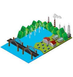 Bridge and power station in 3d design vector