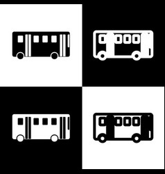 Bus simple sign black and white icons and vector