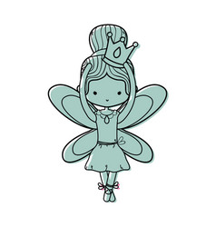 Color girl dancing ballet with crown and wings vector