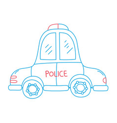 color line emergency police car transport with vector image vector image