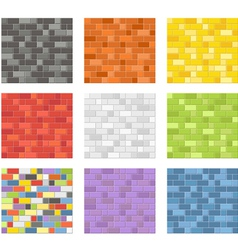 Color seamless patterns of brick walls vector image