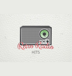 Color sticker retro radio detailed elements old vector