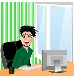 Crazy smiling programmer with glasses vector