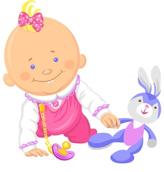 Cute smiling baby girl playing with a toy rabbit vector