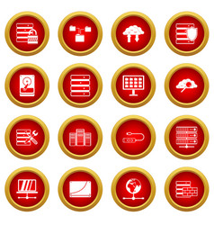Database icon red circle set vector