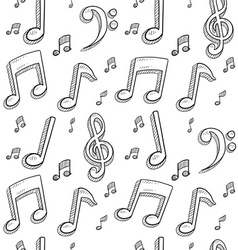 Doodle music notes pattern seamless background vector