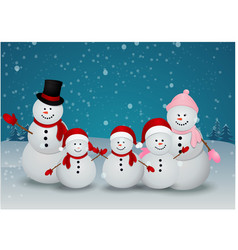 family of snowman christmas background vector image vector image