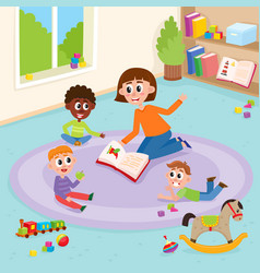 flat boys and girls playing in kindergarten vector image vector image