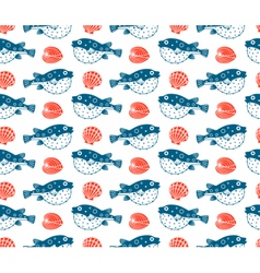 Fugu and shells seamless pattern vector image vector image