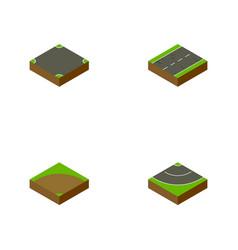 Isometric road set of sand cracks road vector