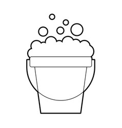 laundry bucket with foam vector image