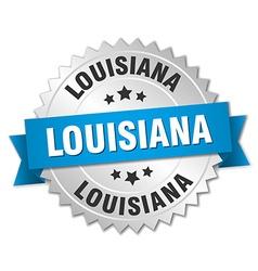 Louisiana round silver badge with blue ribbon vector
