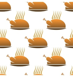 Seamless pattern of roast chicken on dish vector