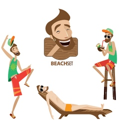 Set of beach men vector image vector image