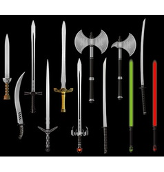 set of fantasy swords and axes vector image
