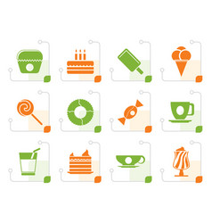 stylized sweet food and confectionery icons vector image vector image