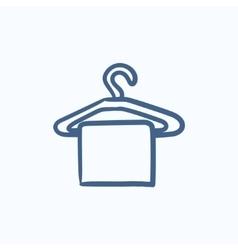 Towel on hanger sketch icon vector image