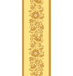 Wooden flowers vertical seamless pattern vector image