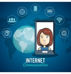 Cartoon samrtphone woman internet communication vector