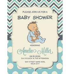 Beautiful baby boy shower card with little baby vector