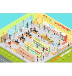 Supermarket interior isometric projection vector
