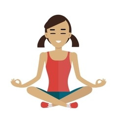 Young woman making meditation in lotus pose vector