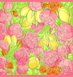 floral peonies background vector image