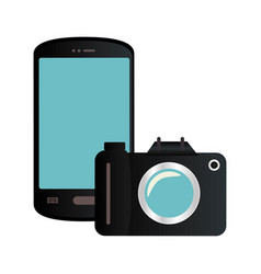 color silhouette with smartphone and analog camera vector image