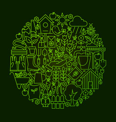 Garden line icon circle concept vector