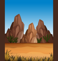 Desert scene with mountains and field vector