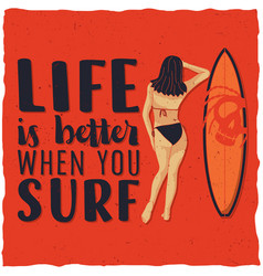 surfing label design vector image