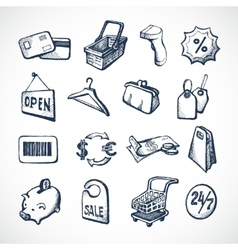 Shopping Sketch Icons vector image