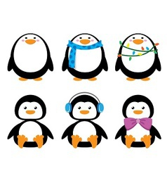 short and round penguins with clothes vector image