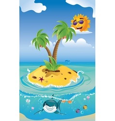 Shark and tropic island vector