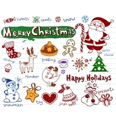 Set of christmas doodles vector