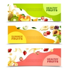 Fruits colorful flat horizontal banners set vector