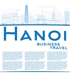 Outline hanoi skyline with blue landmarks vector