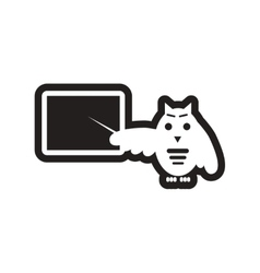 Style black and white icon owl teacher vector
