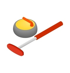 Curling icon isometric 3d style vector