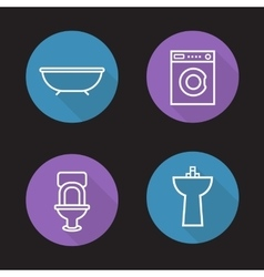 Bathroom flat linear icons set vector