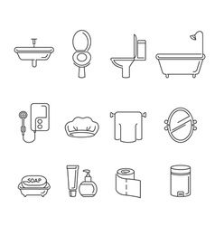 Bathroom equipments linear icons set vector