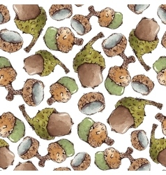 Seamless pattern with watercolor acorns vector