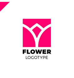 abstract flower tulip logo in square icon vector image vector image
