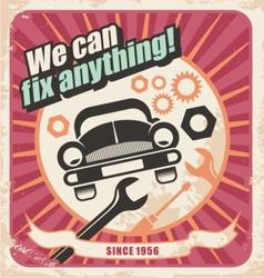 Auto service retro poster vector