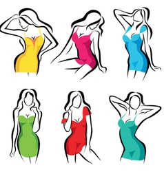 beautiful women set of symbols in dress vector image