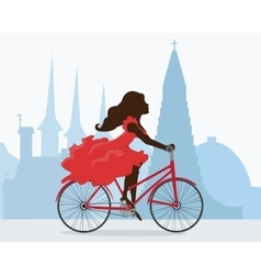 Bicycle ride around reykjavik vector