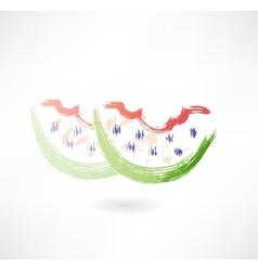 bitten watermelon grunge icon vector image vector image