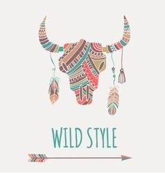 Bohemian style bull skull poster vector