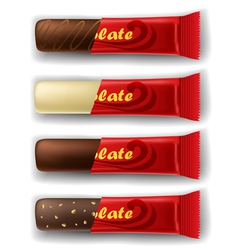 Chocolate bar in package set vector image vector image