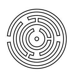 Circle maze or labyrinth it is black icon vector